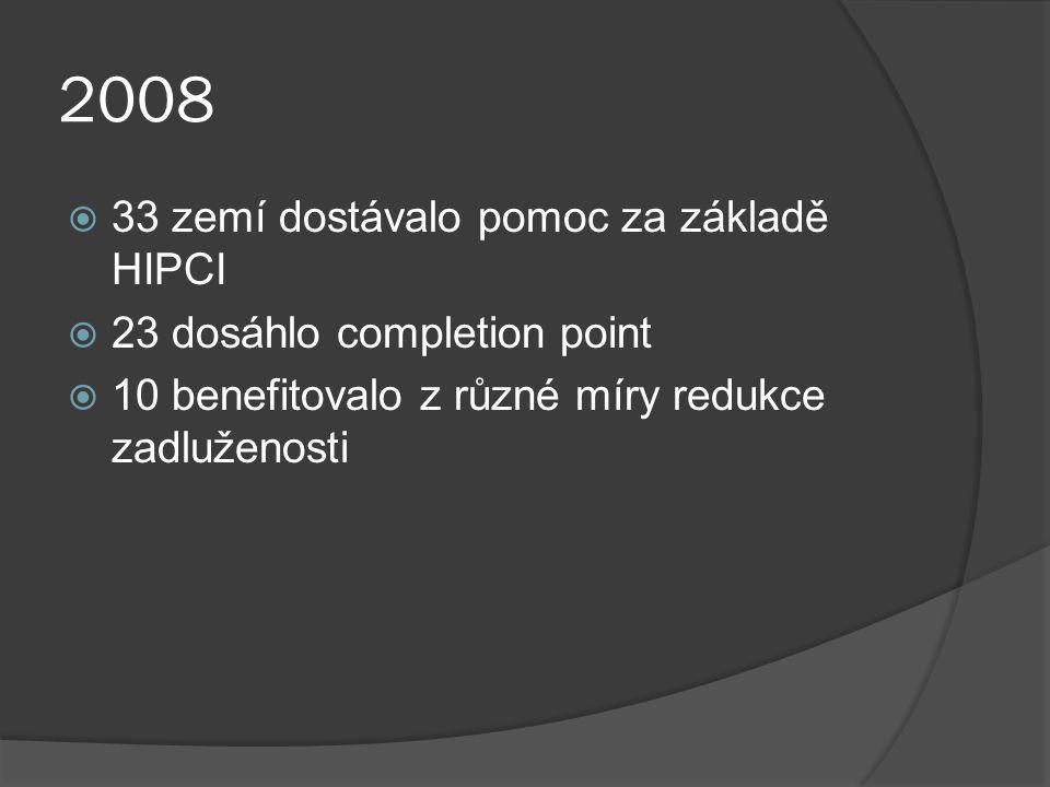 2008  33 zemí dostávalo pomoc za základě HIPCI  23 dosáhlo completion point  10 benefitovalo z různé míry redukce zadluženosti