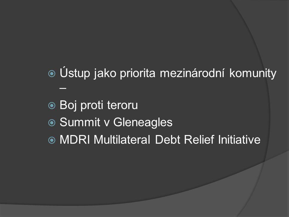  Ústup jako priorita mezinárodní komunity –  Boj proti teroru  Summit v Gleneagles  MDRI Multilateral Debt Relief Initiative