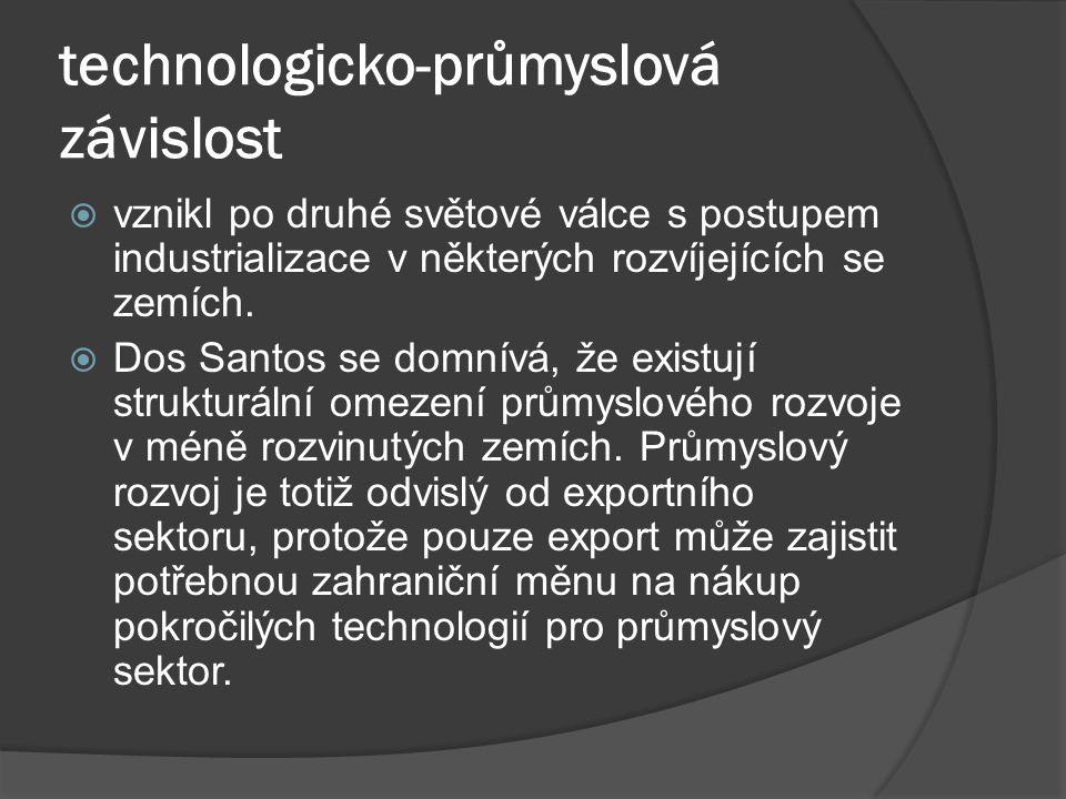 technologicko-průmyslová závislost  vznikl po druhé světové válce s postupem industrializace v některých rozvíjejících se zemích.