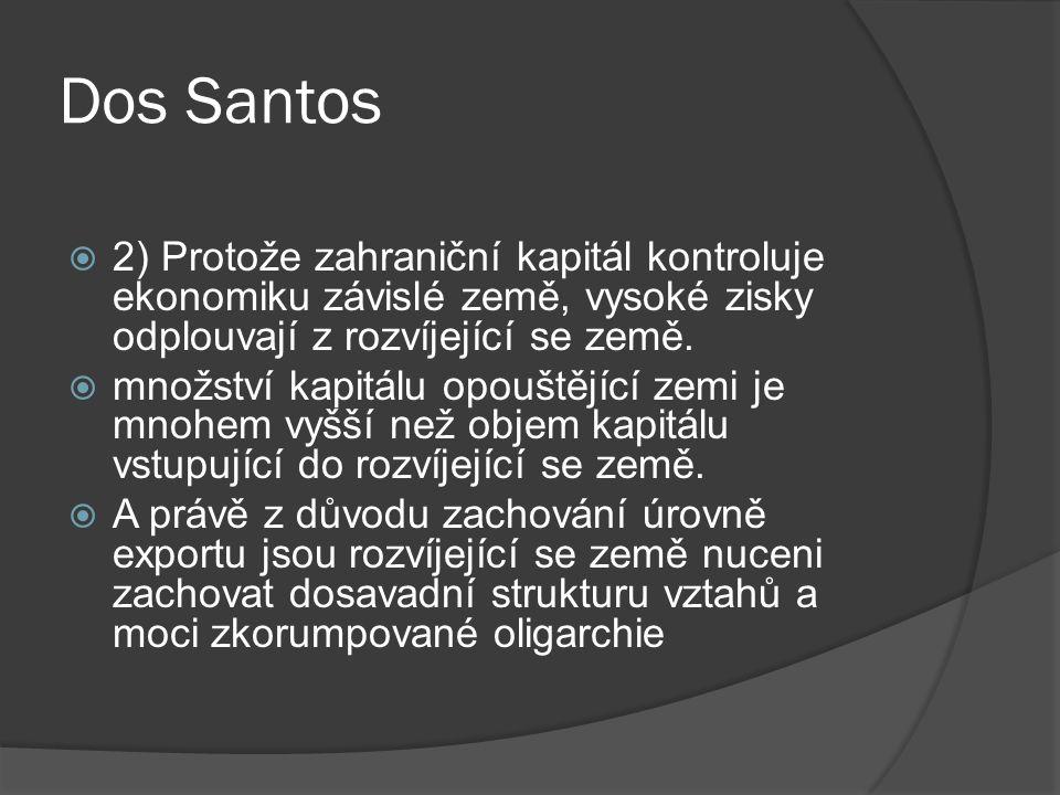 Dos Santos  2) Protože zahraniční kapitál kontroluje ekonomiku závislé země, vysoké zisky odplouvají z rozvíjející se země.