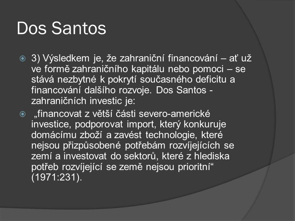 Dos Santos  3) Výsledkem je, že zahraniční financování – ať už ve formě zahraničního kapitálu nebo pomoci – se stává nezbytné k pokrytí současného deficitu a financování dalšího rozvoje.
