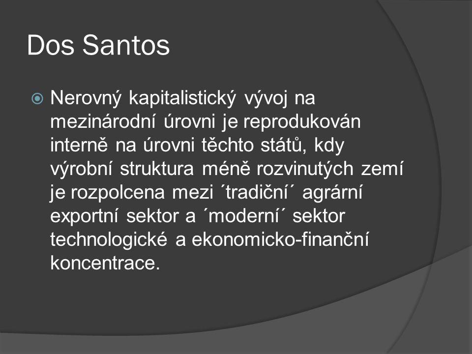 Dos Santos  Nerovný kapitalistický vývoj na mezinárodní úrovni je reprodukován interně na úrovni těchto států, kdy výrobní struktura méně rozvinutých zemí je rozpolcena mezi ´tradiční´ agrární exportní sektor a ´moderní´ sektor technologické a ekonomicko-finanční koncentrace.