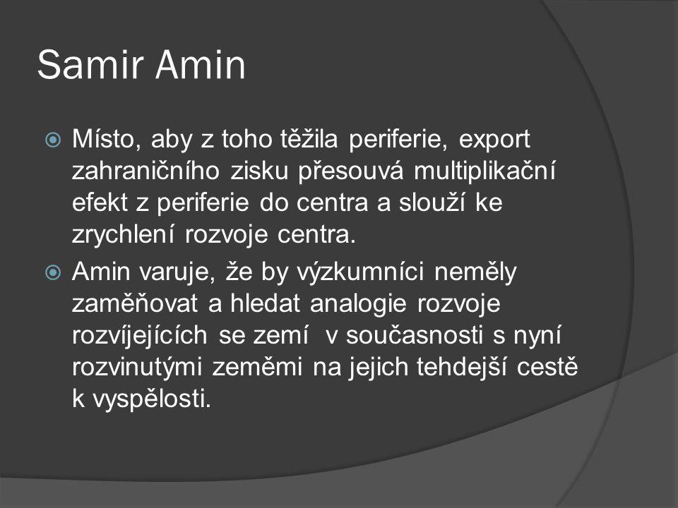 Samir Amin  Místo, aby z toho těžila periferie, export zahraničního zisku přesouvá multiplikační efekt z periferie do centra a slouží ke zrychlení rozvoje centra.