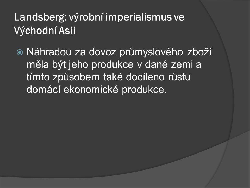 Landsberg: výrobní imperialismus ve Východní Asii  Náhradou za dovoz průmyslového zboží měla být jeho produkce v dané zemi a tímto způsobem také docíleno růstu domácí ekonomické produkce.