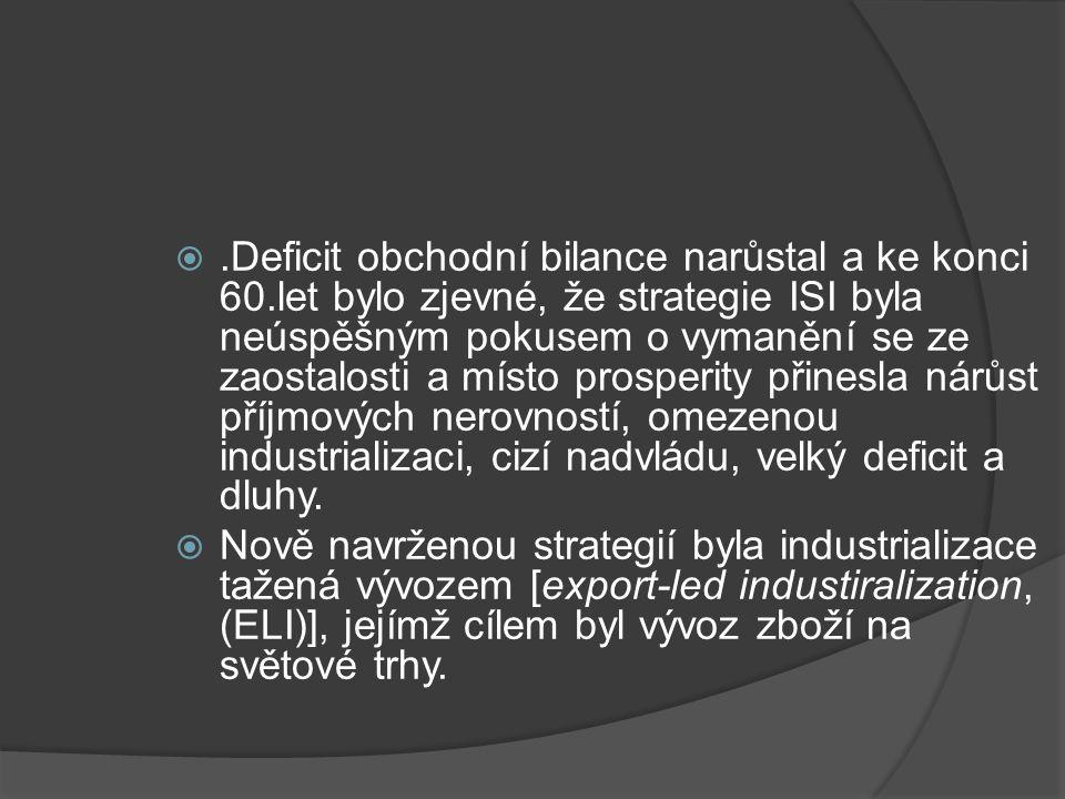 .Deficit obchodní bilance narůstal a ke konci 60.let bylo zjevné, že strategie ISI byla neúspěšným pokusem o vymanění se ze zaostalosti a místo prosperity přinesla nárůst příjmových nerovností, omezenou industrializaci, cizí nadvládu, velký deficit a dluhy.