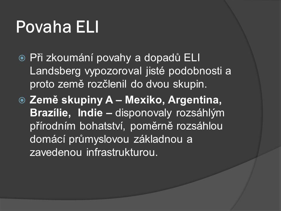 Povaha ELI  Při zkoumání povahy a dopadů ELI Landsberg vypozoroval jisté podobnosti a proto země rozčlenil do dvou skupin.