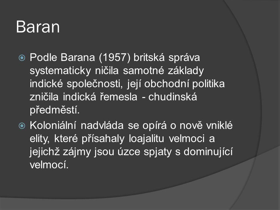 Baran  Podle Barana (1957) britská správa systematicky ničila samotné základy indické společnosti, její obchodní politika zničila indická řemesla - chudinská předměstí.