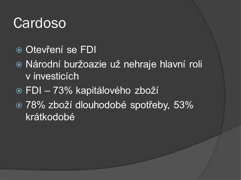 Cardoso  Otevření se FDI  Národní buržoazie už nehraje hlavní roli v investicích  FDI – 73% kapitálového zboží  78% zboží dlouhodobé spotřeby, 53% krátkodobé