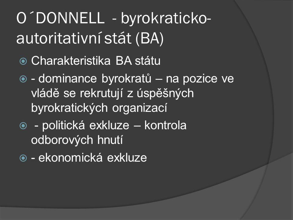 O´DONNELL - byrokraticko- autoritativní stát (BA)  Charakteristika BA státu  - dominance byrokratů – na pozice ve vládě se rekrutují z úspěšných byrokratických organizací  - politická exkluze – kontrola odborových hnutí  - ekonomická exkluze