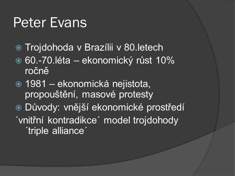 Peter Evans  Trojdohoda v Brazílii v 80.letech  60.-70.léta – ekonomický růst 10% ročně  1981 – ekonomická nejistota, propouštění, masové protesty  Důvody: vnější ekonomické prostředí ´vnitřní kontradikce´ model trojdohody ´triple alliance´