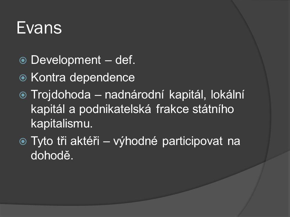 Evans  Development – def.
