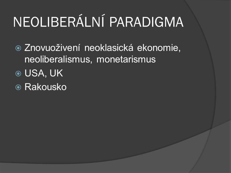NEOLIBERÁLNÍ PARADIGMA  Znovuoživení neoklasická ekonomie, neoliberalismus, monetarismus  USA, UK  Rakousko