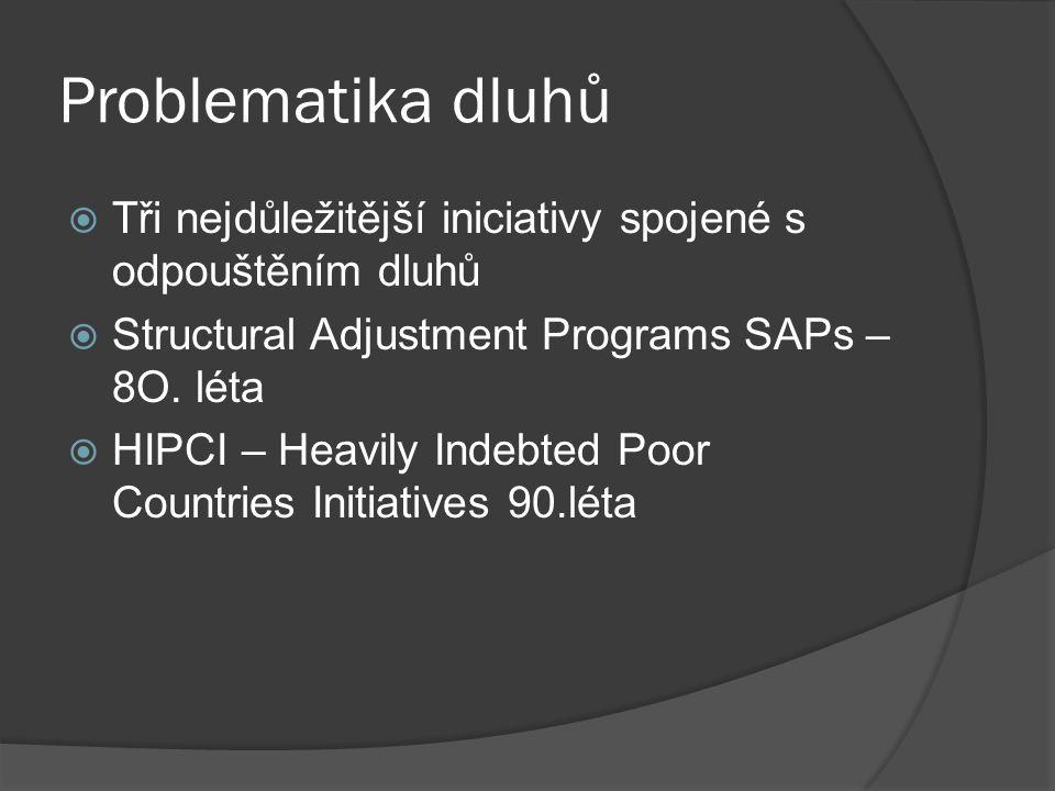 Problematika dluhů  Tři nejdůležitější iniciativy spojené s odpouštěním dluhů  Structural Adjustment Programs SAPs – 8O.