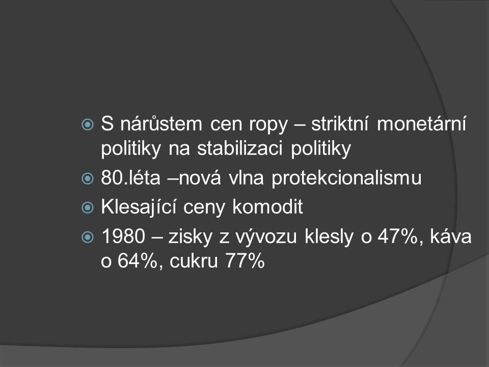  S nárůstem cen ropy – striktní monetární politiky na stabilizaci politiky  80.léta –nová vlna protekcionalismu  Klesající ceny komodit  1980 – zisky z vývozu klesly o 47%, káva o 64%, cukru 77%