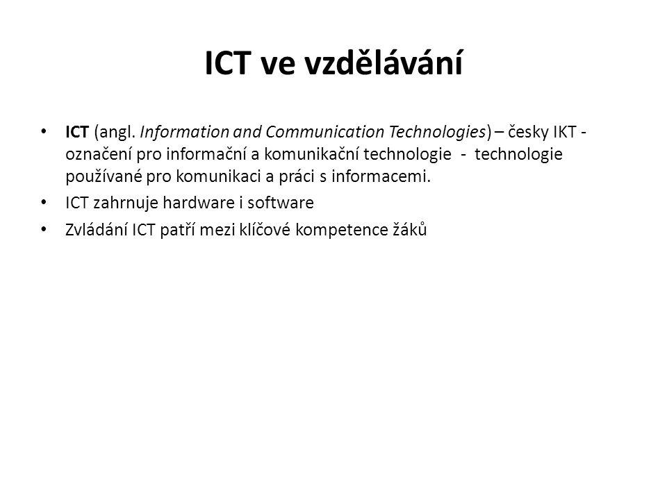 ICT ve výuce Fy ICT ve výuce se vyvíjejí dlouhodobě (dia-projekce, film, TV, video, PC, web, data-projekce, interaktivní tabule atd.) – jak hardwarově, tak softwarově Výukové softwary jsou opožděny proti hardwaru ICT lze bohatě využít ve výuce Fy zejména jako: -Podpora názornosti (fotografie, klipy, animace, simulace, web-kamery atd.), -Nástroj pro měření a vyhodnocování naměřených dat -Řízení experimentů, -Dálkové experimentování, -E-learning, -Interaktivní výuky (I-teaching)