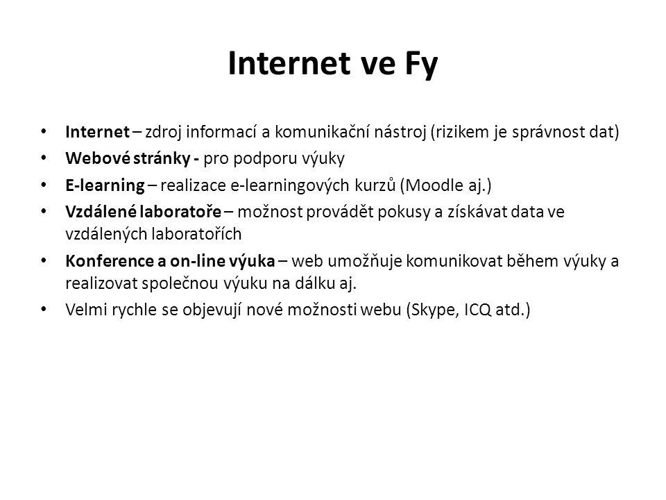 Internet ve Fy Internet – zdroj informací a komunikační nástroj (rizikem je správnost dat) Webové stránky - pro podporu výuky E-learning – realizace e-learningových kurzů (Moodle aj.) Vzdálené laboratoře – možnost provádět pokusy a získávat data ve vzdálených laboratořích Konference a on-line výuka – web umožňuje komunikovat během výuky a realizovat společnou výuku na dálku aj.