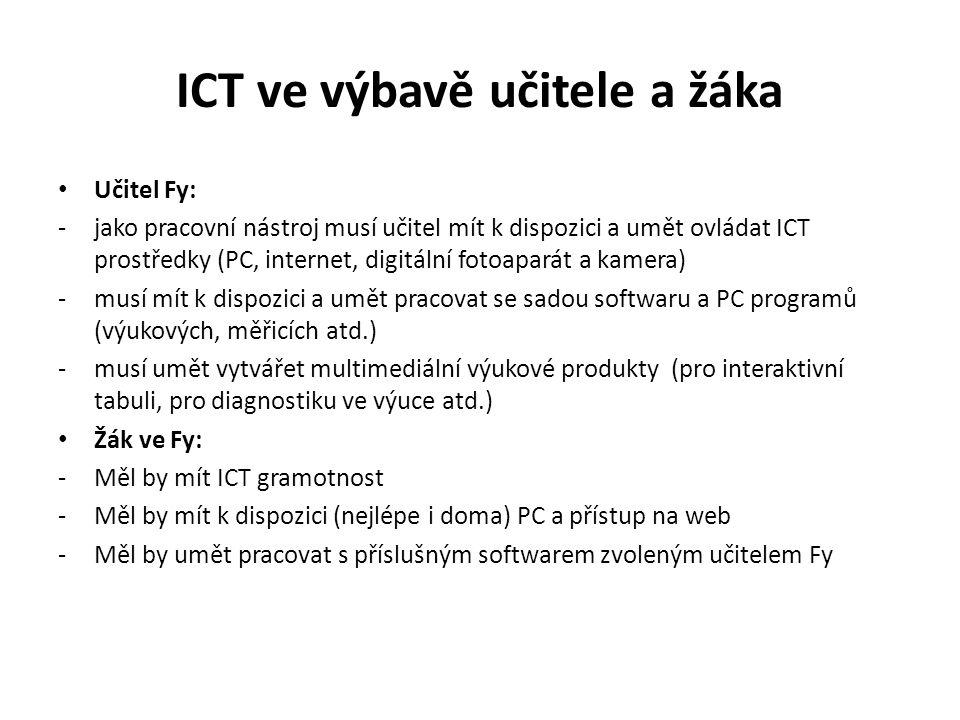 ICT ve výbavě učitele a žáka Učitel Fy: -jako pracovní nástroj musí učitel mít k dispozici a umět ovládat ICT prostředky (PC, internet, digitální fotoaparát a kamera) -musí mít k dispozici a umět pracovat se sadou softwaru a PC programů (výukových, měřicích atd.) -musí umět vytvářet multimediální výukové produkty (pro interaktivní tabuli, pro diagnostiku ve výuce atd.) Žák ve Fy: -Měl by mít ICT gramotnost -Měl by mít k dispozici (nejlépe i doma) PC a přístup na web -Měl by umět pracovat s příslušným softwarem zvoleným učitelem Fy