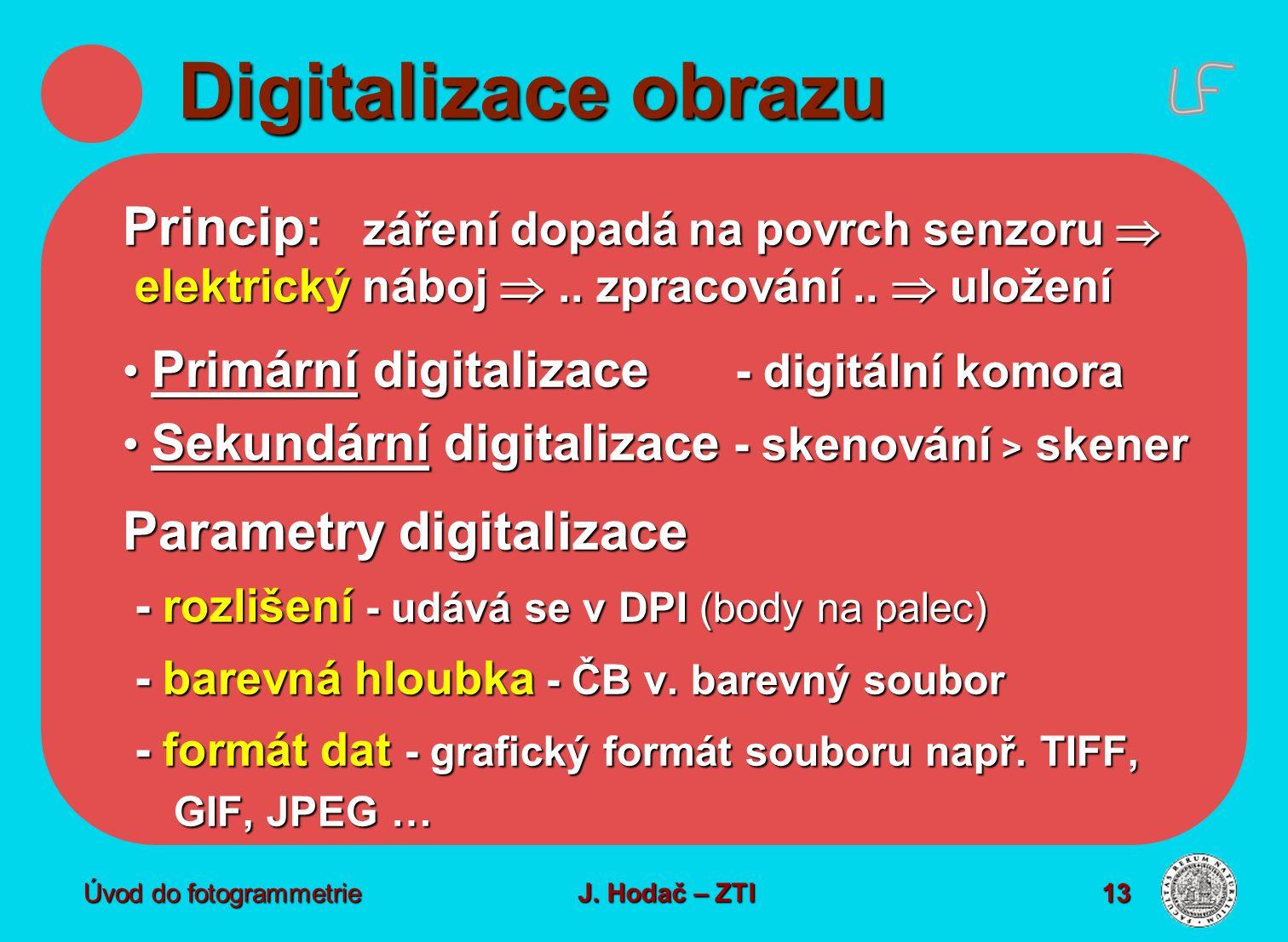 Digitalizace obrazu Princip: záření dopadá na povrch senzoru  elektrický náboj ..