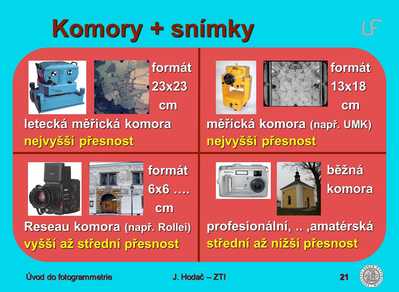 Úvod do fotogrammetrie21 Komory + snímky formát23x23 cm cm letecká měřická komora nejvyšší přesnost běžnákomora profesionální,..,amatérská střední až nižší přesnost formát 6x6 ….