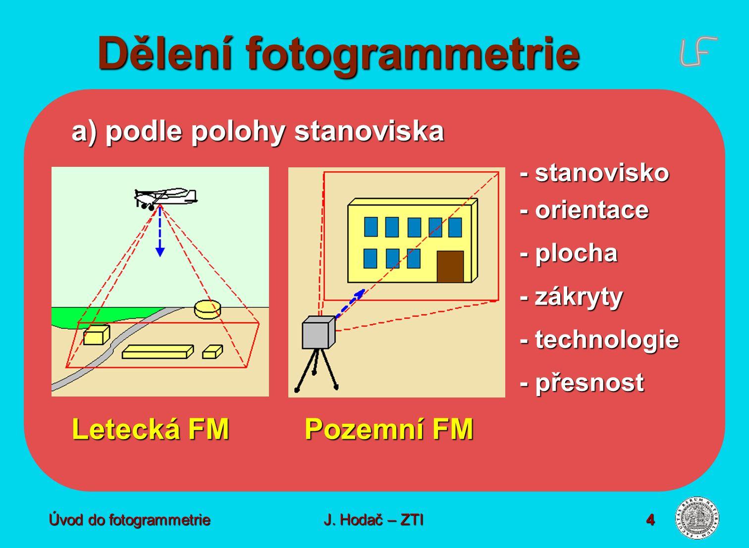 Úvod do fotogrammetrie4 Dělení fotogrammetrie a) podle polohy stanoviska - stanovisko - orientace - plocha - zákryty - technologie - přesnost Letecká FMPozemní FM J.