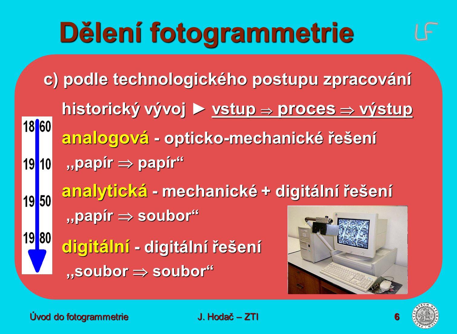 Úvod do fotogrammetrie6 Dělení fotogrammetrie c) podle technologického postupu zpracování historický vývoj ► vstup  proces  výstup analogová - opticko-mechanické řešení,,papír  papír ,,papír  papír analytická - mechanické + digitální řešení,,papír  soubor ,,papír  soubor digitální - digitální řešení,,soubor  soubor ,,soubor  soubor J.