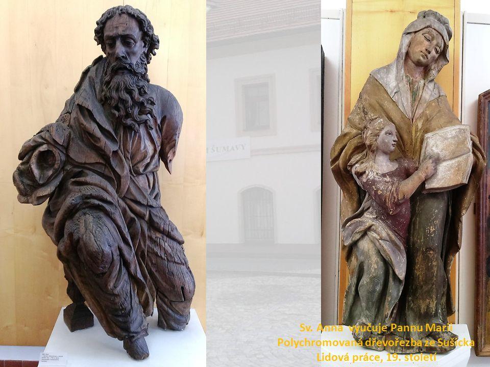 Sv. Anna vyučuje Pannu Marii Polychromovaná dřevořezba ze Sušicka Lidová práce, 19. století