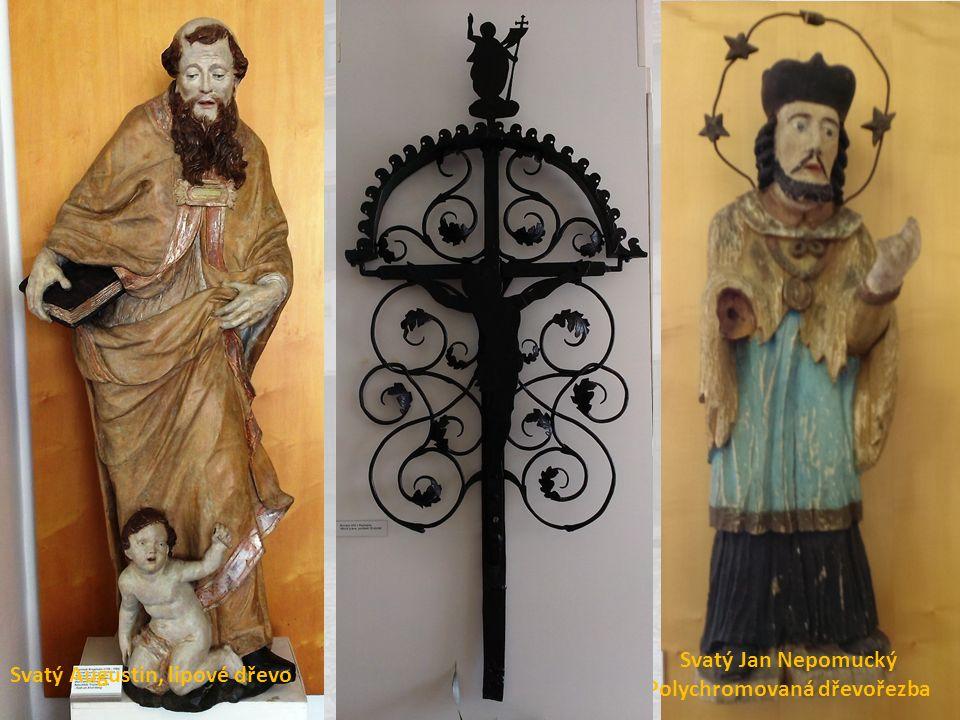 Svatý Jan Nepomucký Polychromovaná dřevořezba Svatý Augustin, lipové dřevo