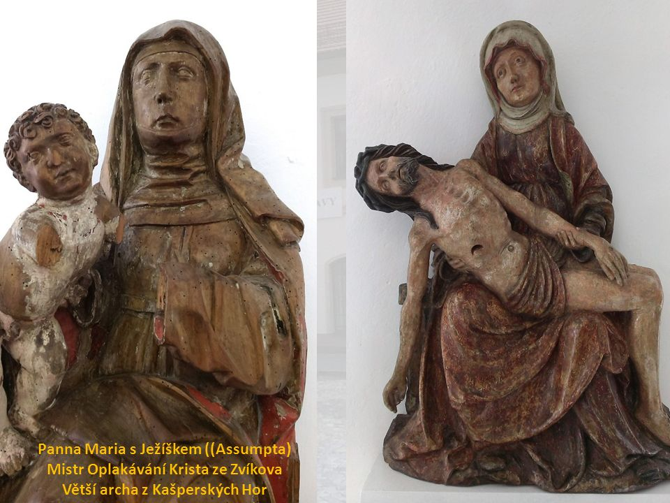 Panna Maria s Ježíškem ((Assumpta) Mistr Oplakávání Krista ze Zvíkova Větší archa z Kašperských Hor