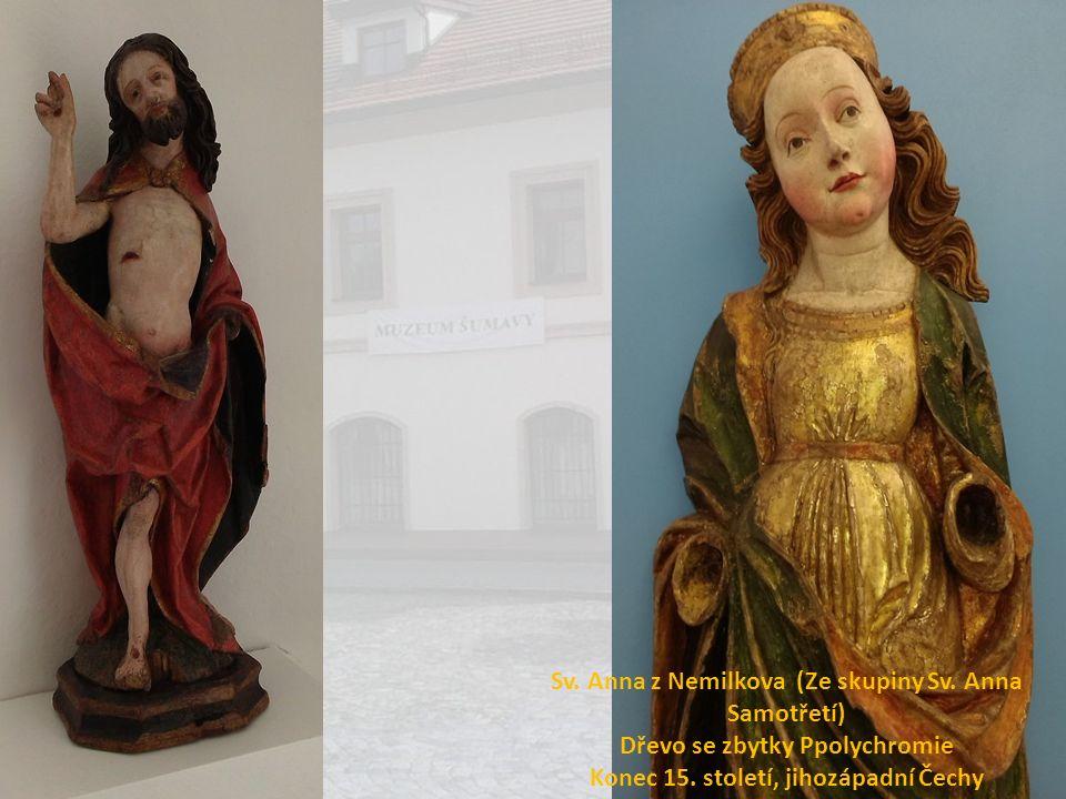 Sv. Anna z Nemilkova (Ze skupiny Sv. Anna Samotřetí) Dřevo se zbytky Ppolychromie Konec 15. století, jihozápadní Čechy