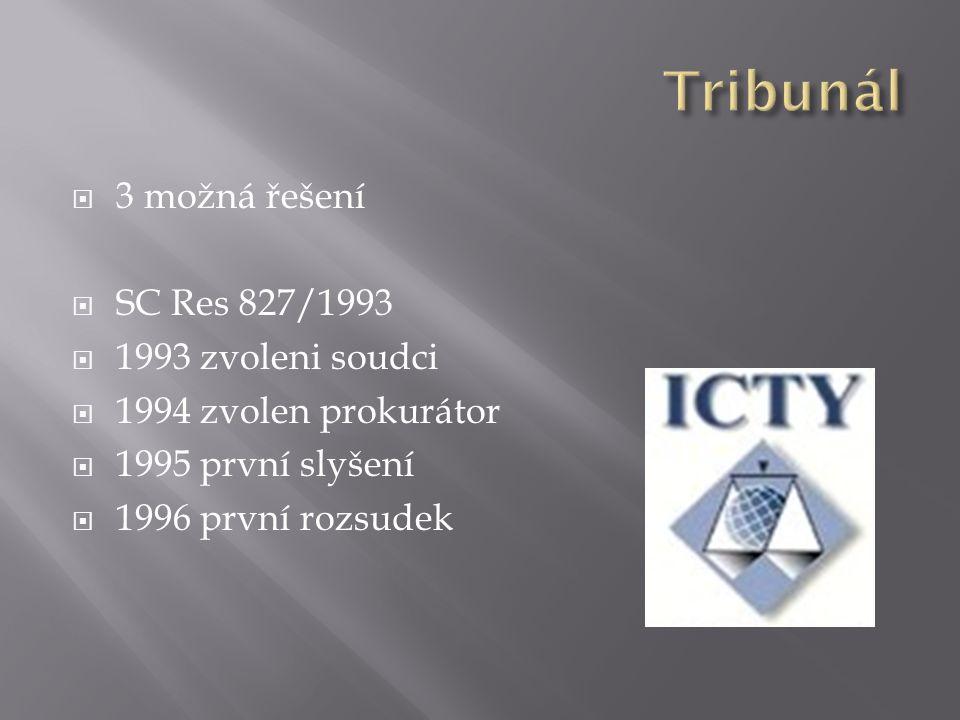  3 možná řešení  SC Res 827/1993  1993 zvoleni soudci  1994 zvolen prokurátor  1995 první slyšení  1996 první rozsudek