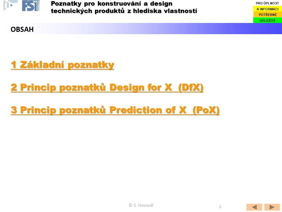 1 Základní poznatky 1 Základní poznatky 2 Princip poznatků Design for X (DfX) 2 Princip poznatků Design for X (DfX) 3 Princip poznatků Prediction of X