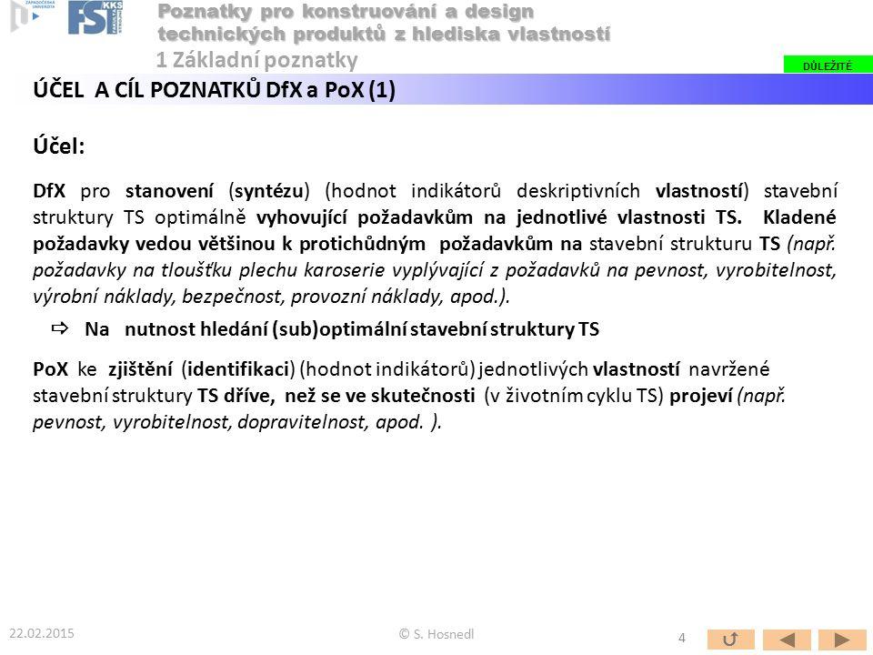 Účel: DfX pro stanovení (syntézu) (hodnot indikátorů deskriptivních vlastností) stavební struktury TS optimálně vyhovující požadavkům na jednotlivé vl