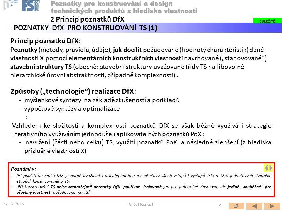 """Princip poznatků DfX: Poznatky (metody, pravidla, údaje), jak docílit požadované (hodnoty charakteristik) dané vlastnosti X pomocí elementárních konstrukčních vlastností navrhované (""""stanovované ) stavební struktury TS (obecně: stavební struktury uvažované třídy TS na libovolné hierarchické úrovni abstraktnosti, případně komplexnosti)."""
