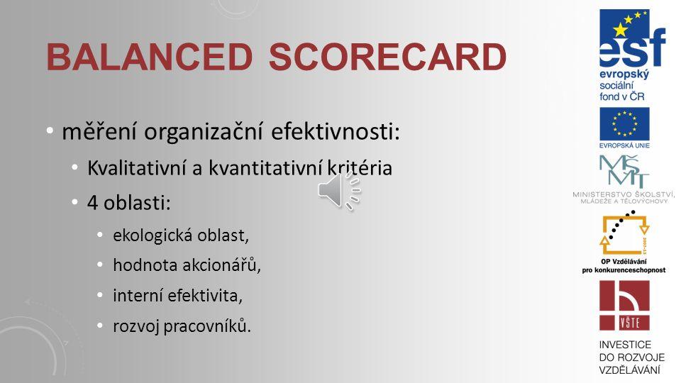 BALANCED SCORECARD měření organizační efektivnosti: Kvalitativní a kvantitativní kritéria 4 oblasti: ekologická oblast, hodnota akcionářů, interní efektivita, rozvoj pracovníků.