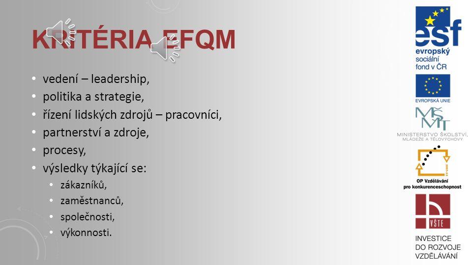 KRITÉRIA EFQM vedení – leadership, politika a strategie, řízení lidských zdrojů – pracovníci, partnerství a zdroje, procesy, výsledky týkající se: zákazníků, zaměstnanců, společnosti, výkonnosti.