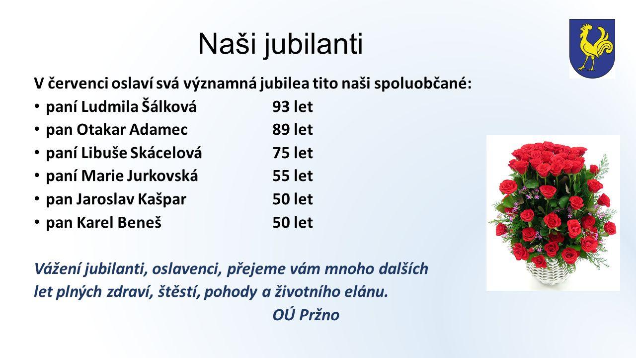 Naši jubilanti V červenci oslaví svá významná jubilea tito naši spoluobčané: paní Ludmila Šálková93 let pan Otakar Adamec89 let paní Libuše Skácelová75 let paní Marie Jurkovská55 let pan Jaroslav Kašpar50 let pan Karel Beneš50 let Vážení jubilanti, oslavenci, přejeme vám mnoho dalších let plných zdraví, štěstí, pohody a životního elánu.