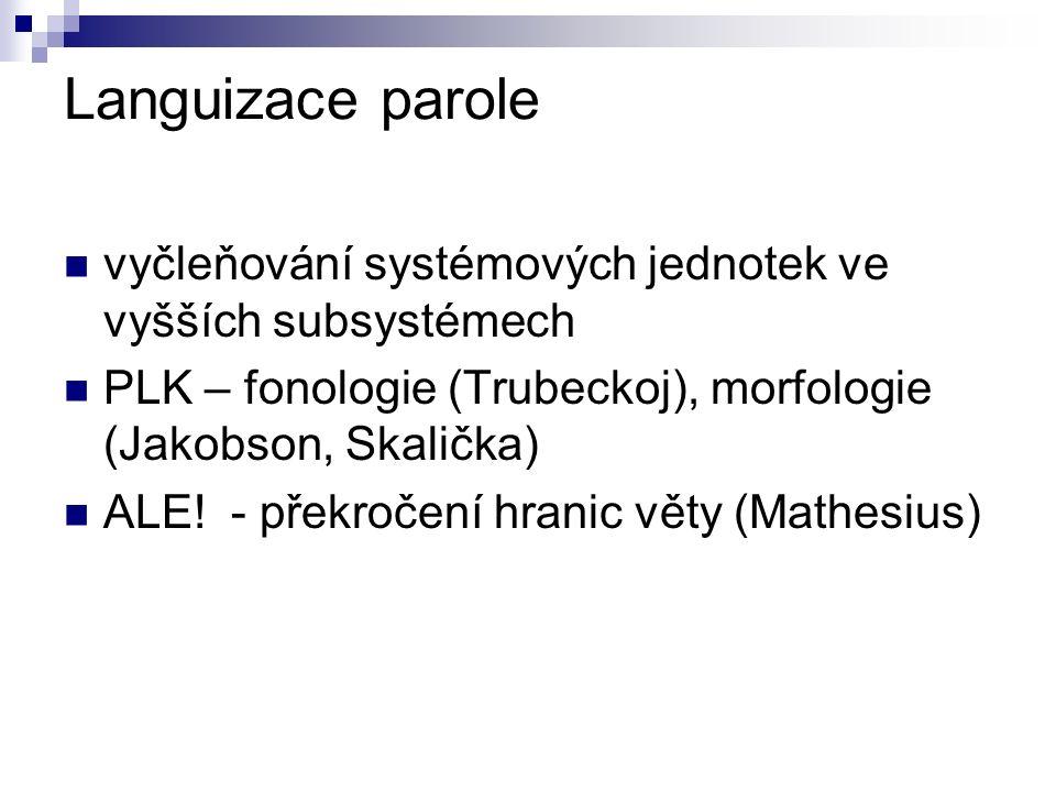 Languizace parole vyčleňování systémových jednotek ve vyšších subsystémech PLK – fonologie (Trubeckoj), morfologie (Jakobson, Skalička) ALE.