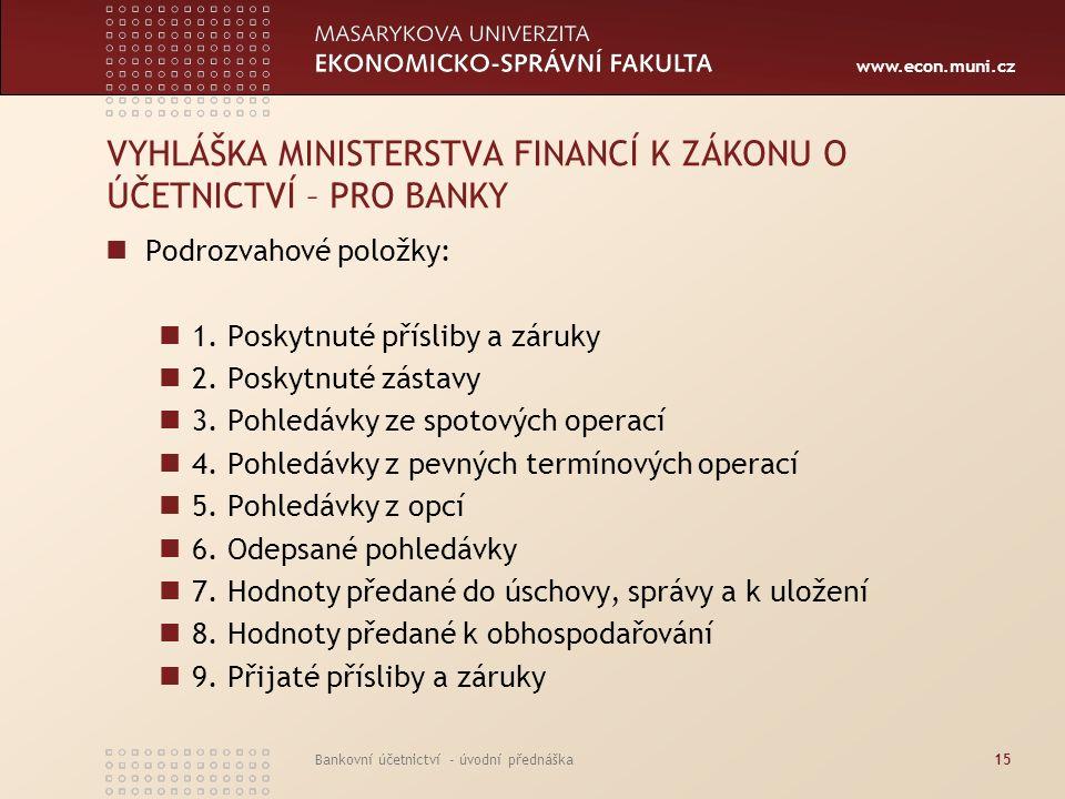 www.econ.muni.cz Bankovní účetnictví - úvodní přednáška15 VYHLÁŠKA MINISTERSTVA FINANCÍ K ZÁKONU O ÚČETNICTVÍ – PRO BANKY Podrozvahové položky: 1. Pos