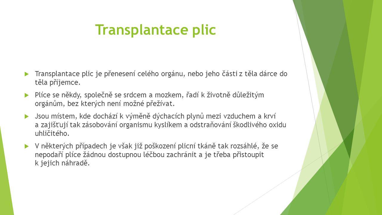 Transplantace plic  Transplantace plic je přenesení celého orgánu, nebo jeho části z těla dárce do těla příjemce.  Plíce se někdy, společně se srdce