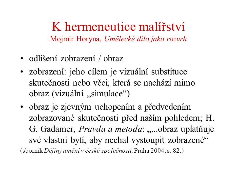 K hermeneutice malířství Mojmír Horyna, Umělecké dílo jako rozvrh odlišení zobrazení / obraz zobrazení: jeho cílem je vizuální substituce skutečnosti