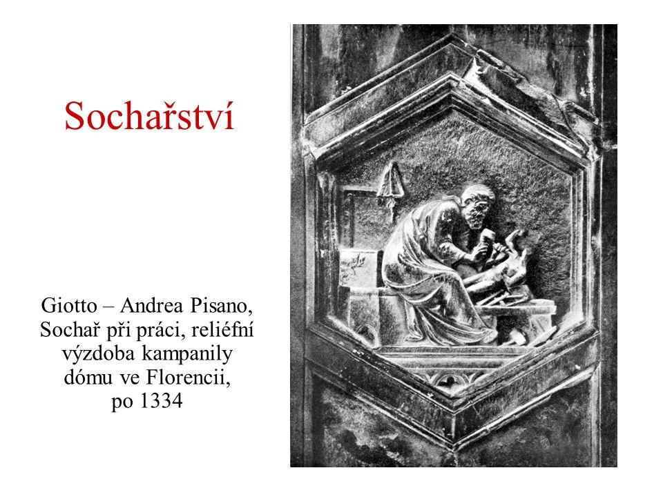 Sochařství Giotto – Andrea Pisano, Sochař při práci, reliéfní výzdoba kampanily dómu ve Florencii, po 1334