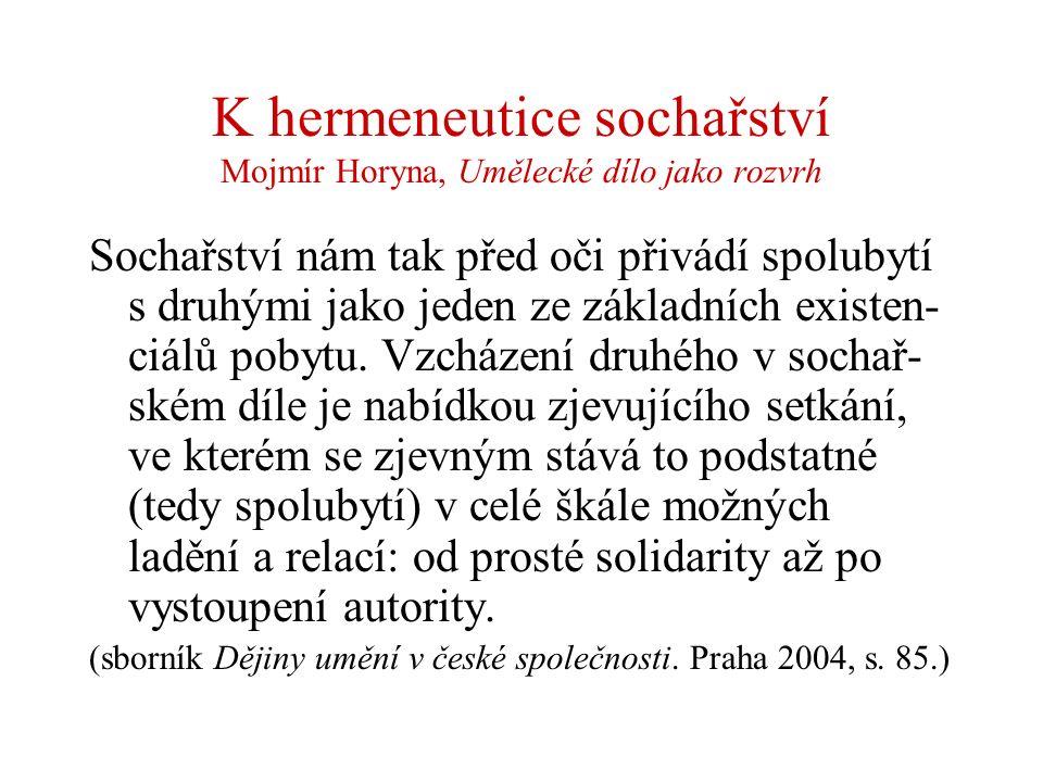 K hermeneutice sochařství Mojmír Horyna, Umělecké dílo jako rozvrh Sochařství nám tak před oči přivádí spolubytí s druhými jako jeden ze základních ex
