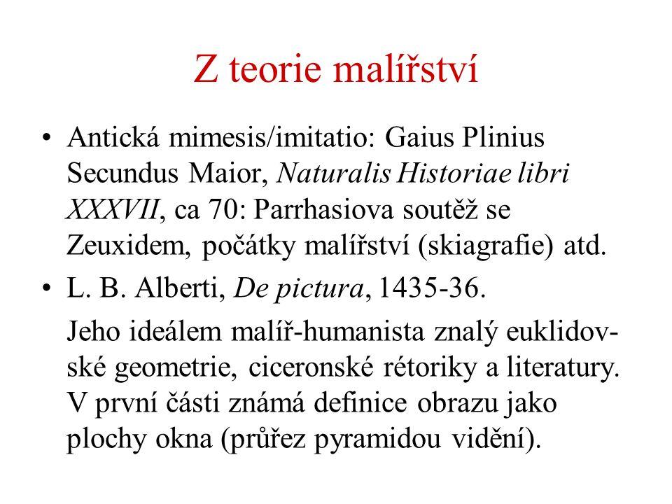 Z teorie malířství Antická mimesis/imitatio: Gaius Plinius Secundus Maior, Naturalis Historiae libri XXXVII, ca 70: Parrhasiova soutěž se Zeuxidem, po