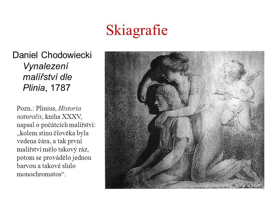 """Skiagrafie Daniel Chodowiecki Vynalezení malířství dle Plinia, 1787 Pozn.: Plinius, Historia naturalis, kniha XXXV, napsal o počátcích malířství: """"kol"""