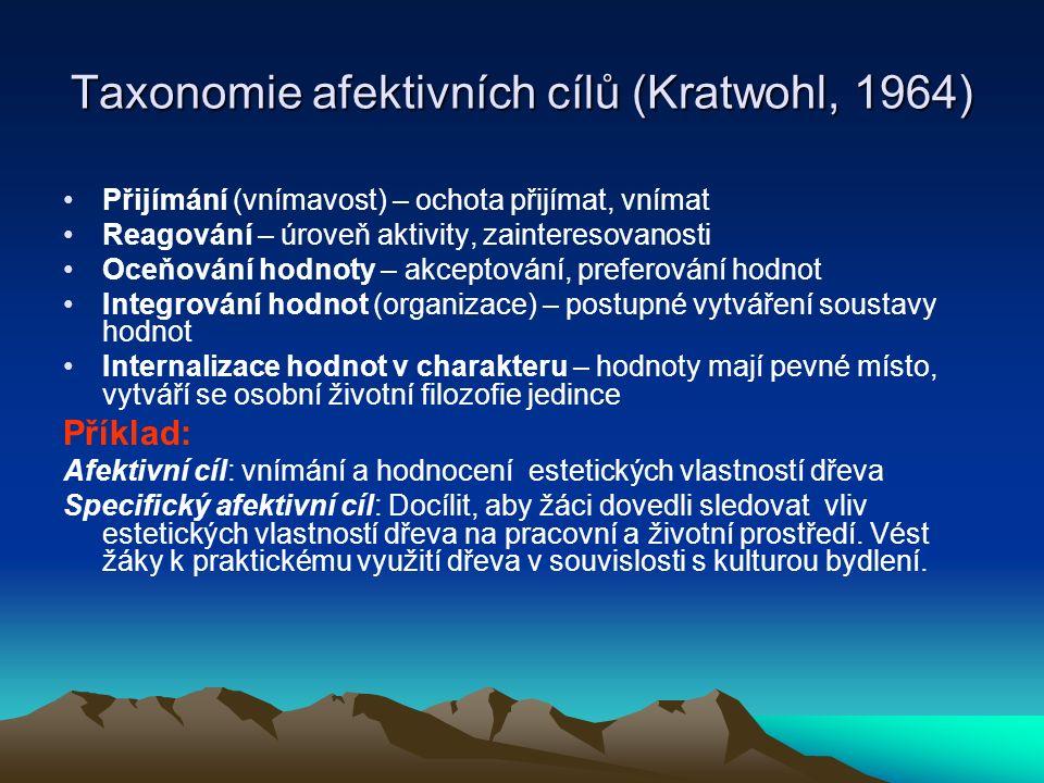 Taxonomie afektivních cílů (Kratwohl, 1964) Přijímání (vnímavost) – ochota přijímat, vnímat Reagování – úroveň aktivity, zainteresovanosti Oceňování h