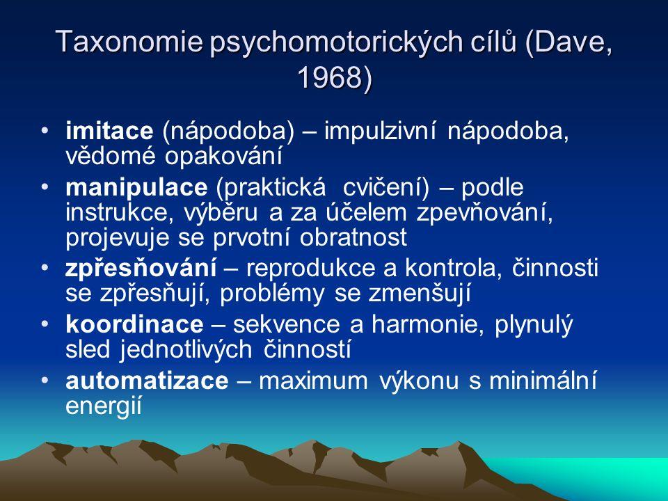 Taxonomie psychomotorických cílů (Dave, 1968) imitace (nápodoba) – impulzivní nápodoba, vědomé opakování manipulace (praktická cvičení) – podle instru