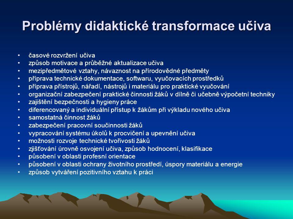 Problémy didaktické transformace učiva časové rozvržení učiva způsob motivace a průběžné aktualizace učiva mezipředmětové vztahy, návaznost na přírodo