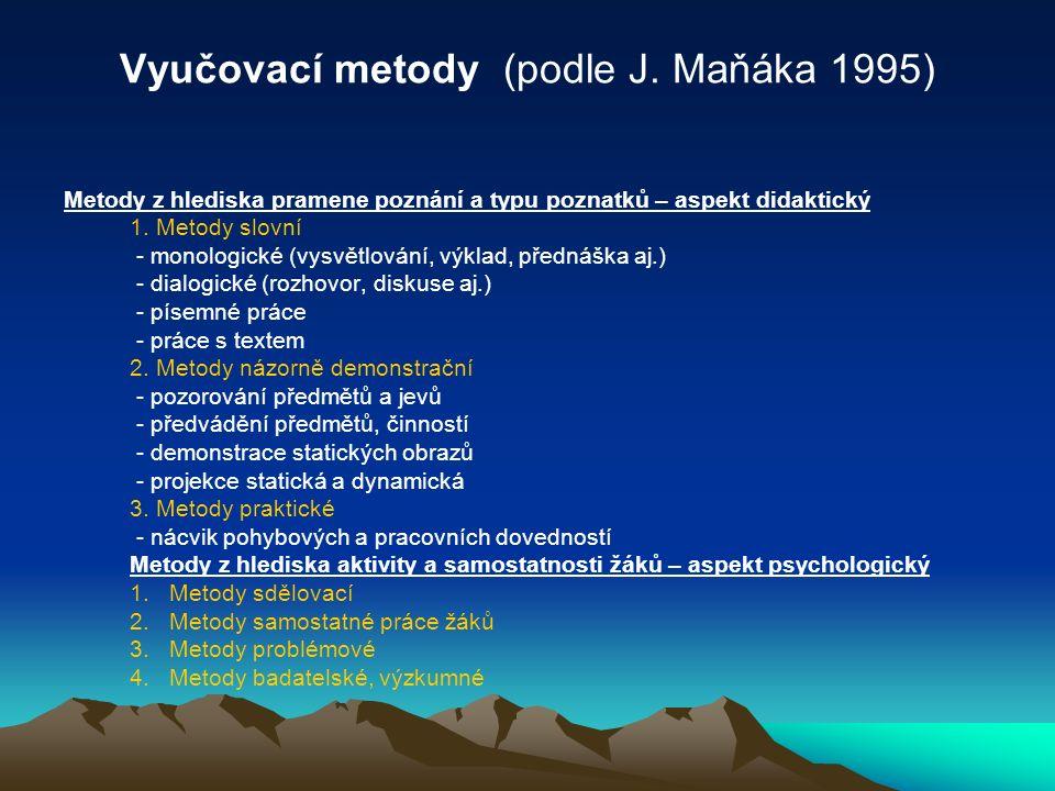 Vyučovací metody (podle J. Maňáka 1995) Metody z hlediska pramene poznání a typu poznatků – aspekt didaktický 1. Metody slovní - monologické (vysvětlo