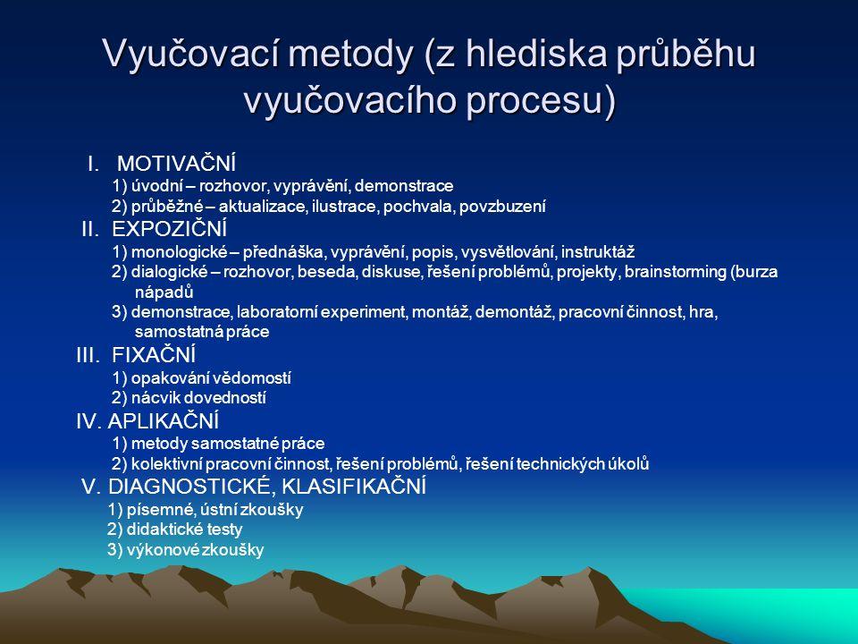 Vyučovací metody (z hlediska průběhu vyučovacího procesu) I. MOTIVAČNÍ 1) úvodní – rozhovor, vyprávění, demonstrace 2) průběžné – aktualizace, ilustra