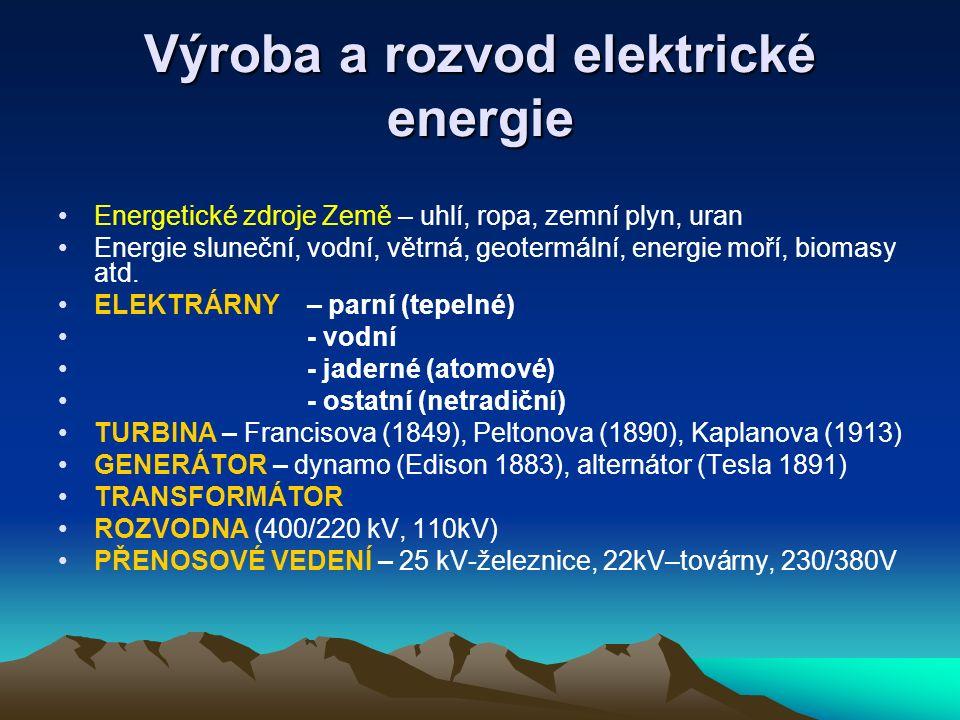 Výroba a rozvod elektrické energie Energetické zdroje Země – uhlí, ropa, zemní plyn, uran Energie sluneční, vodní, větrná, geotermální, energie moří,